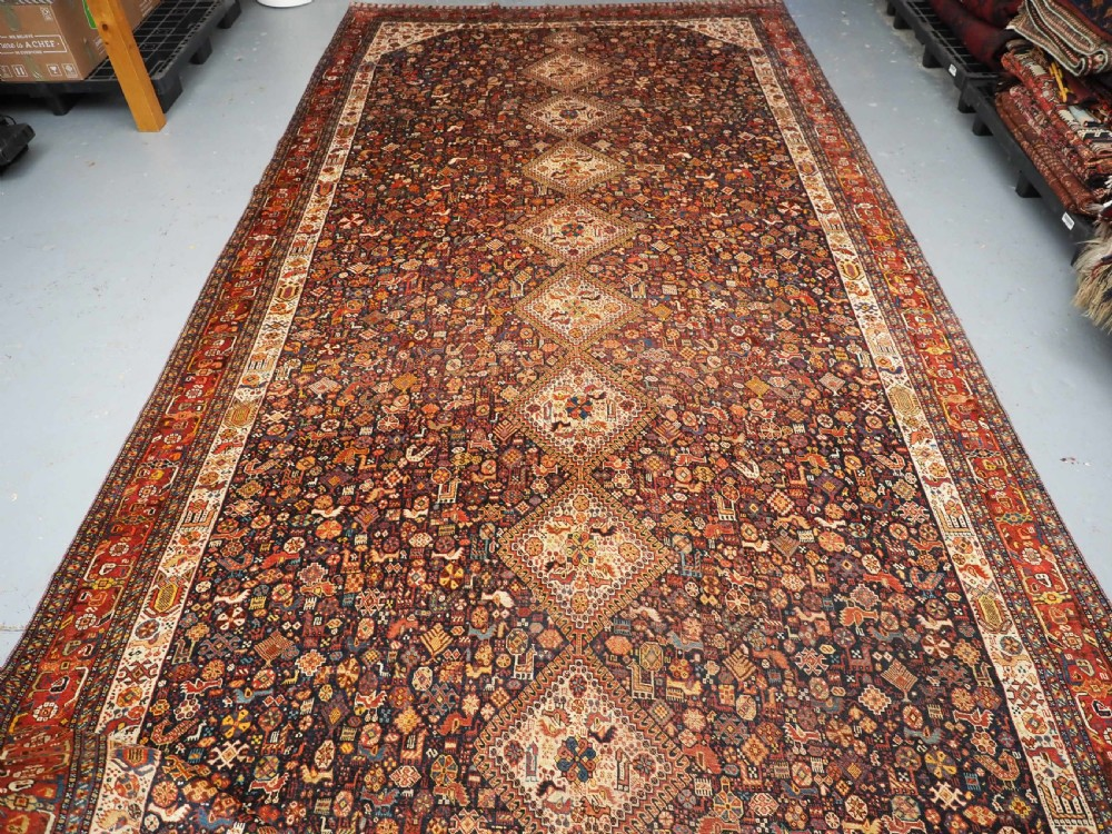 antique kelleh or khan carpet by the khamseh tribe very large size circa 1880