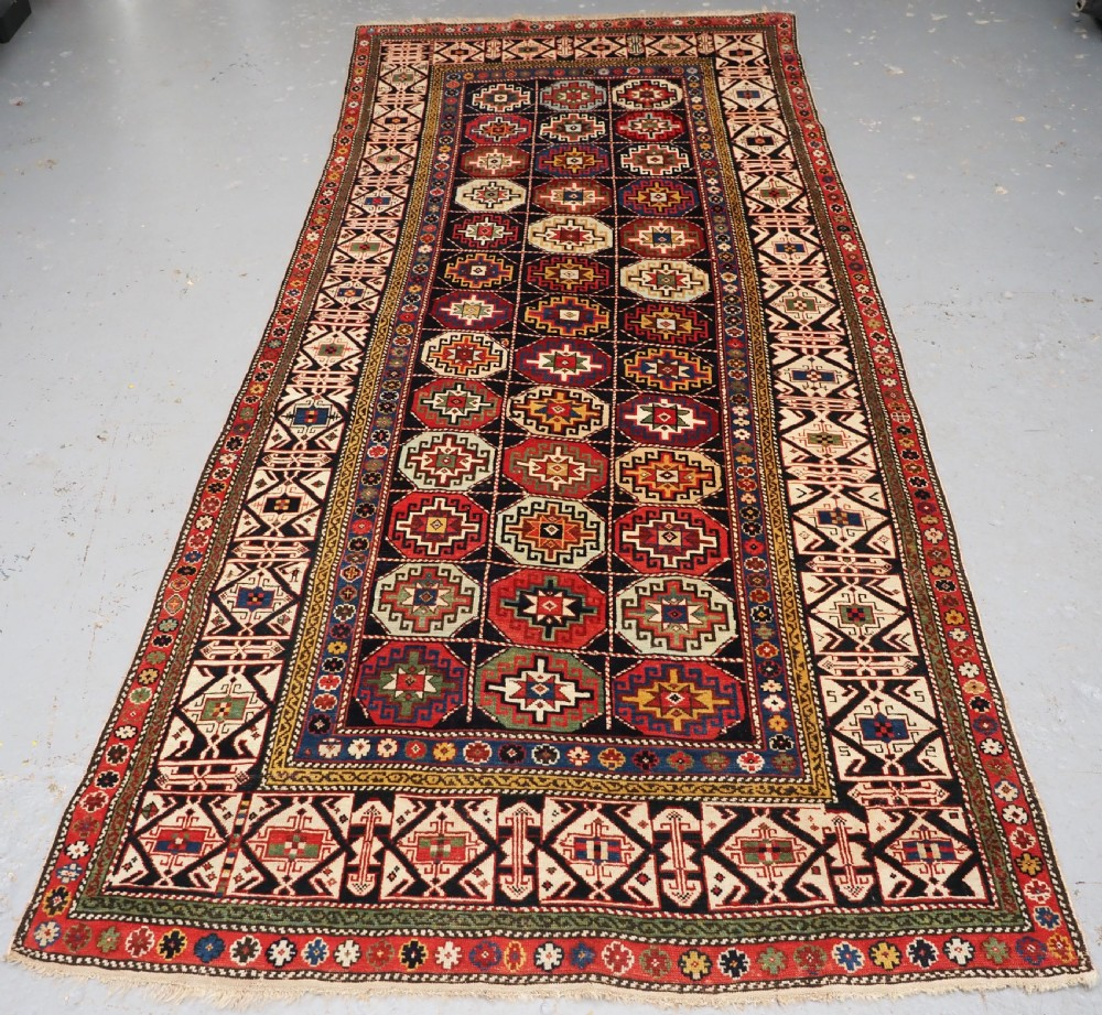 antique caucasian shirvan long rug dated 1855 superb colour and condition