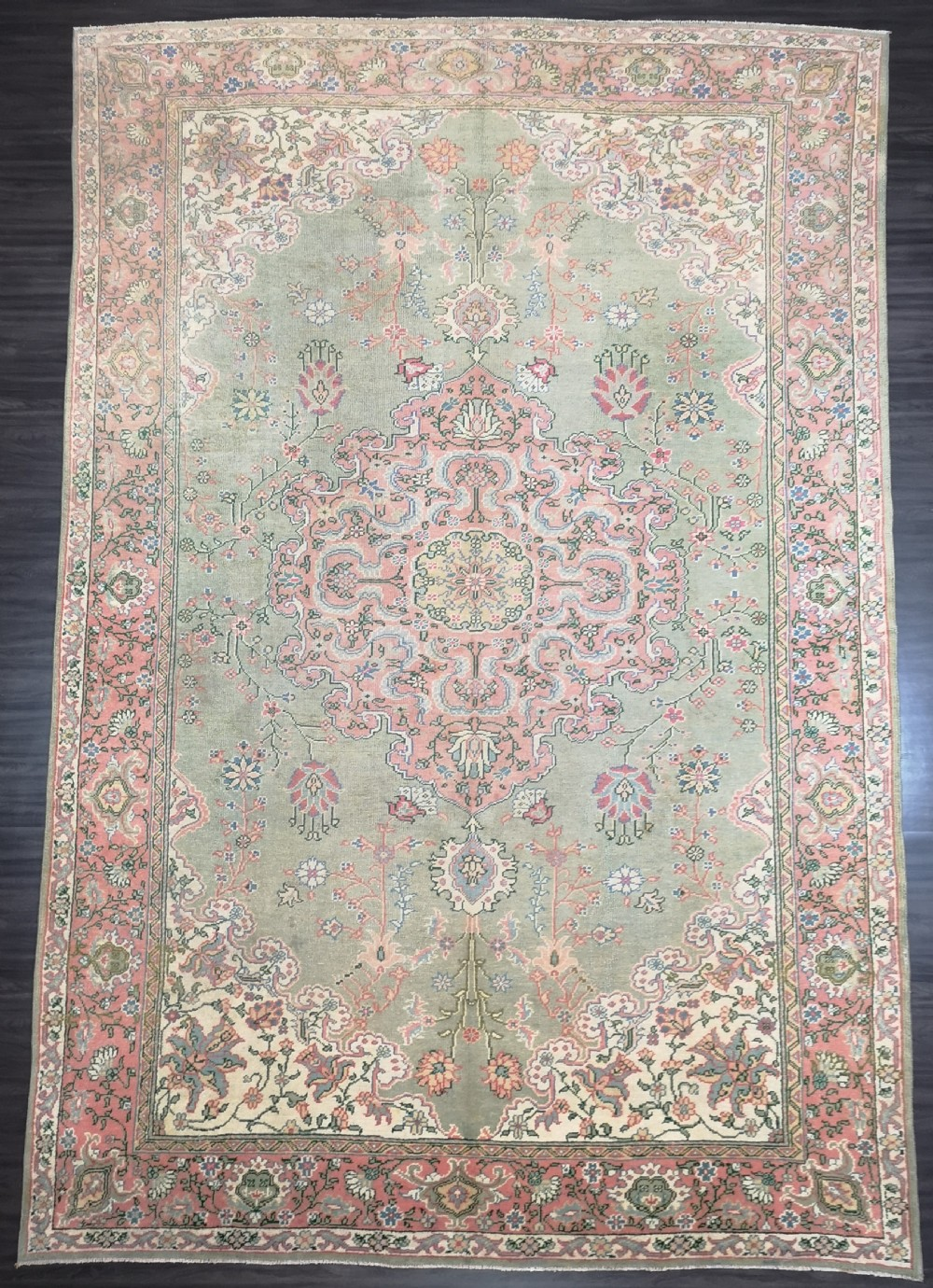 antique turkish oushak carpet large size with soft colours circa 1920