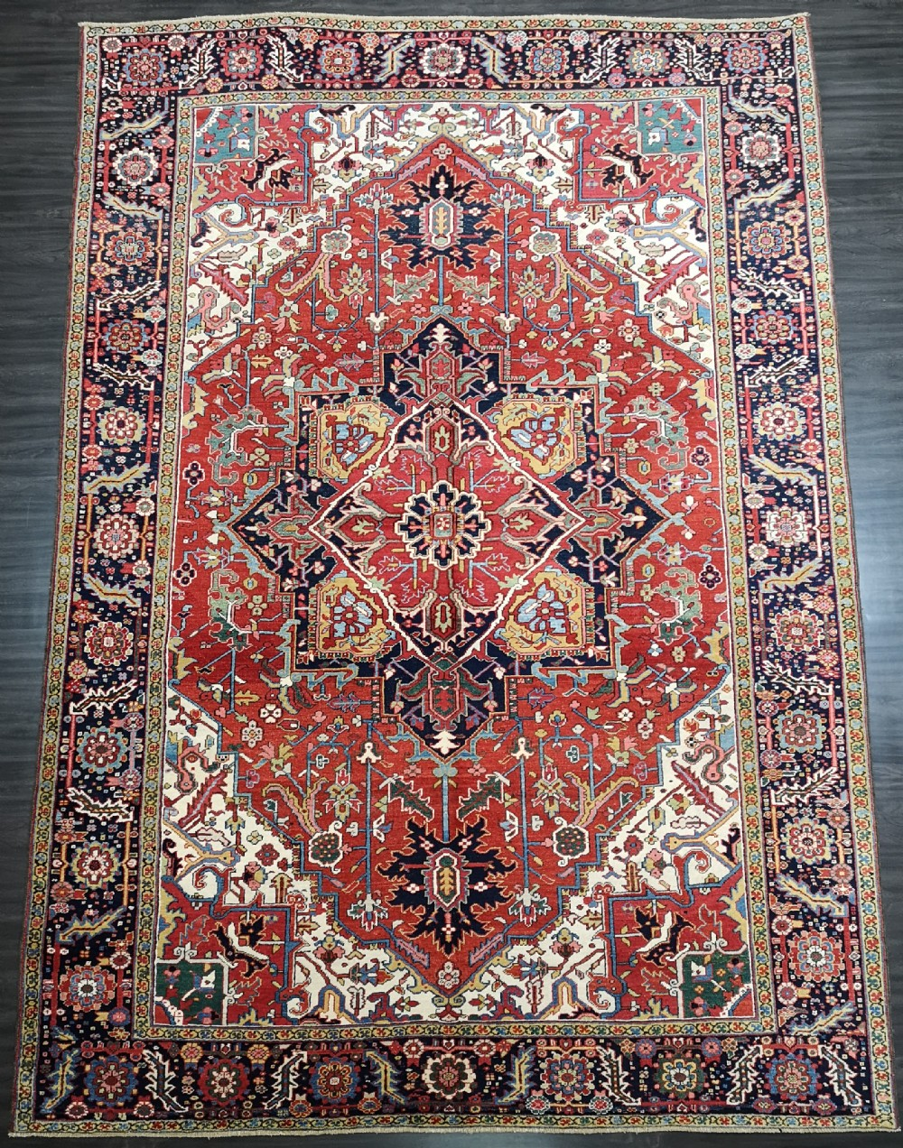 antique heriz carpet superb colour and condition circa 1900