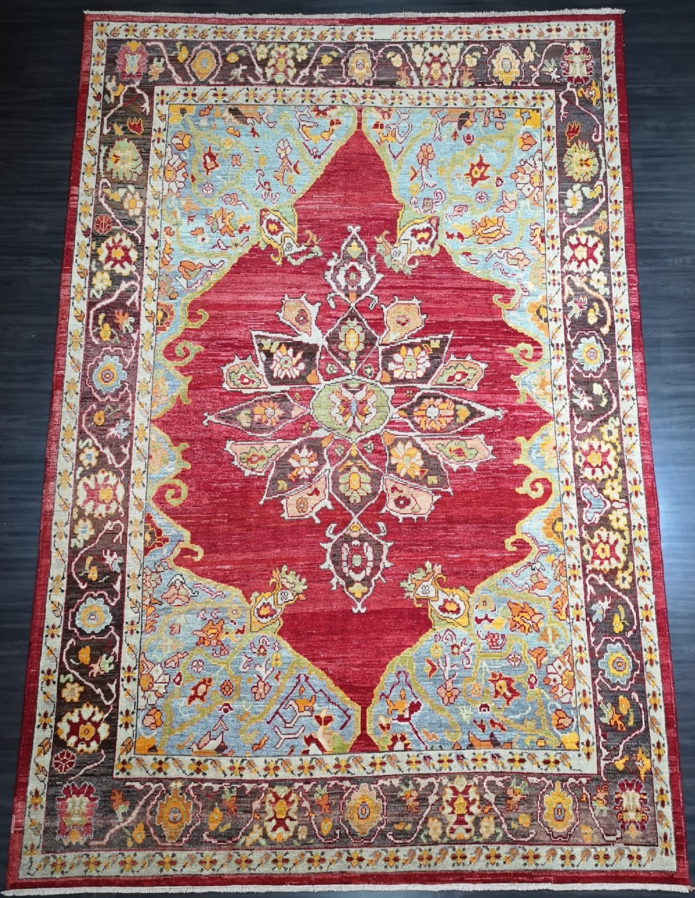 turkish oushak village carpet hand knotted with traditional medallion design