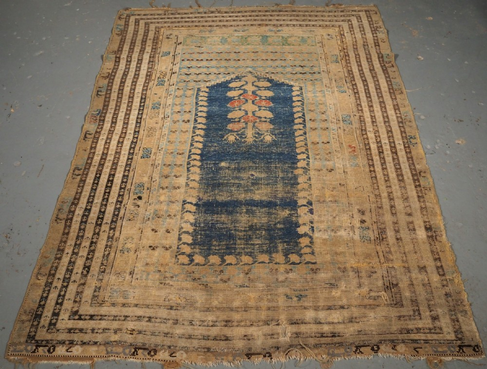 antique turkish ghiordes prayer rug of scarce early design 18th century
