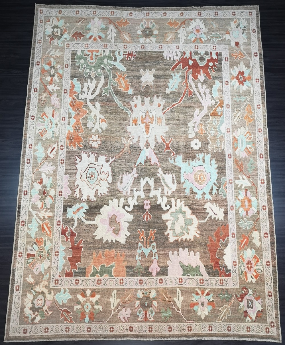 turkish oushak village carpet hand knotted in traditional design 380 x 280cm