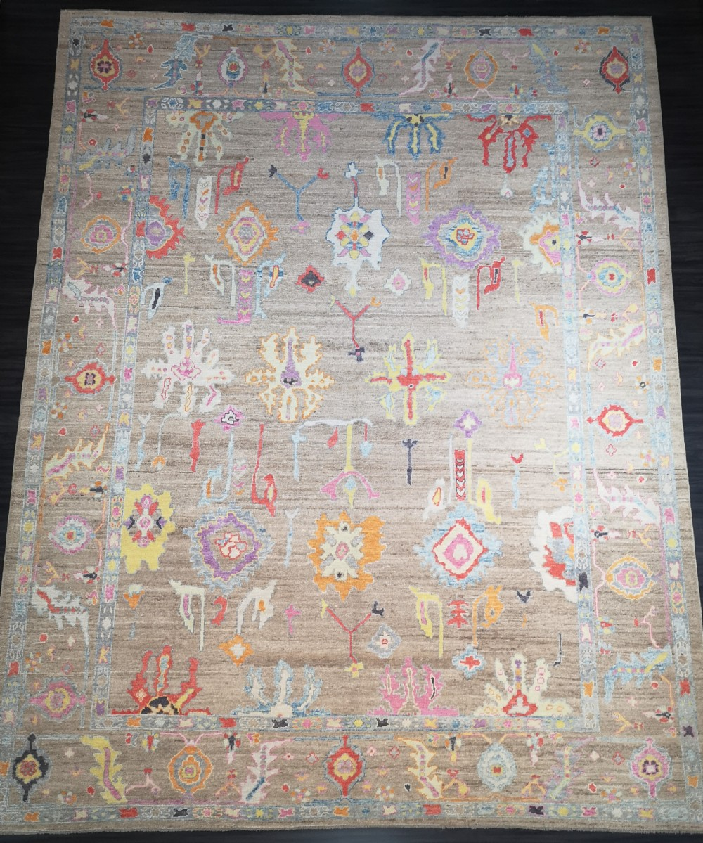 turkish oushak village carpet hand knotted in traditional design 480 x 385cm