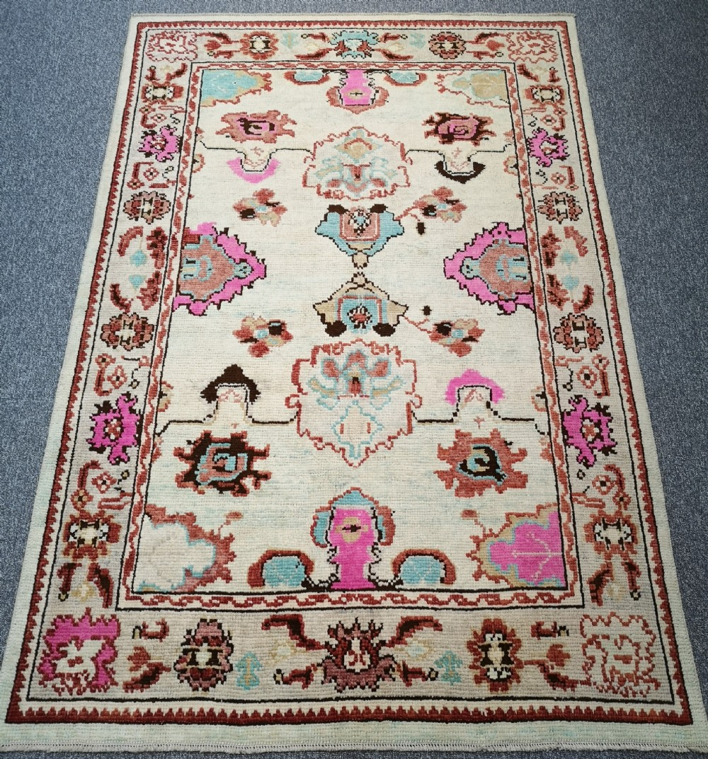 turkish oushak village rug hand knotted with traditional design 244 x 164cm