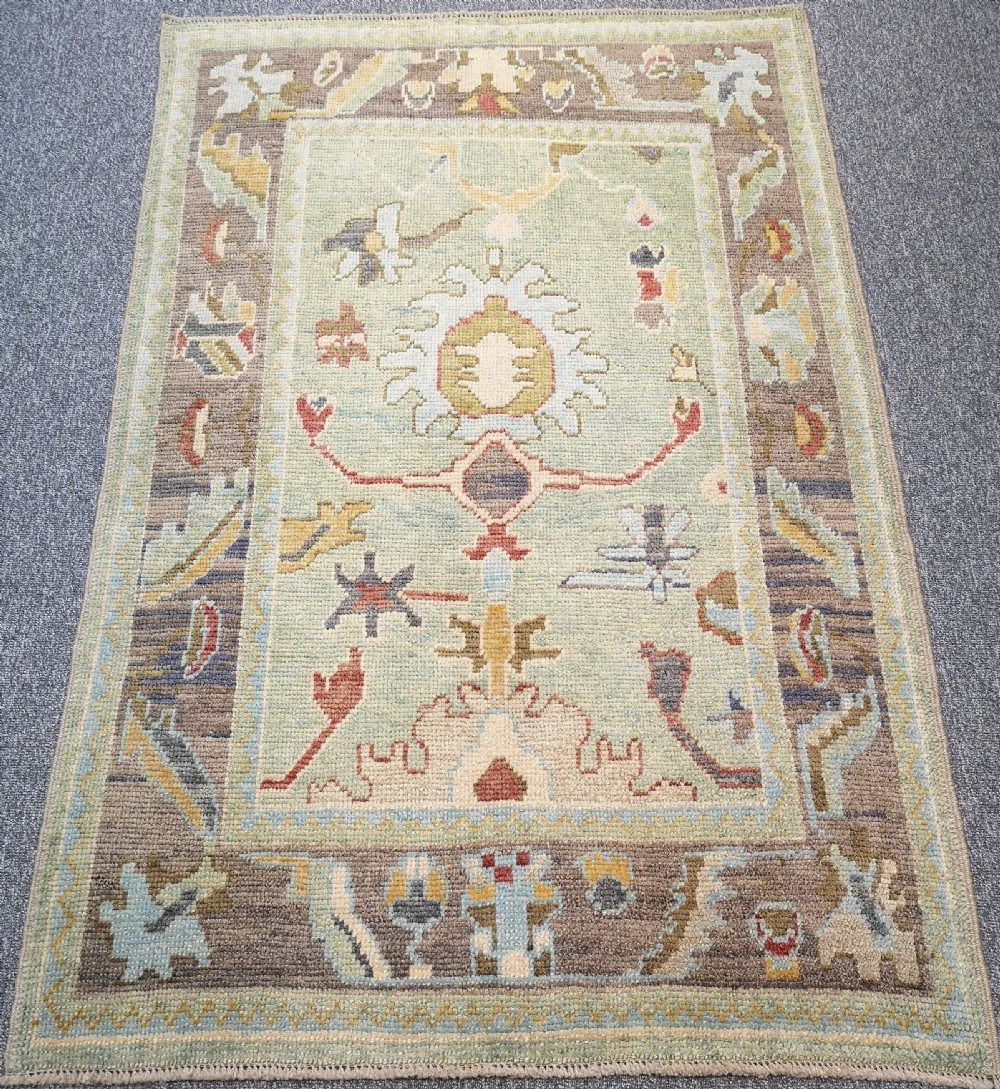 turkish oushak village rug hand knotted with traditional design 190 x 128cm