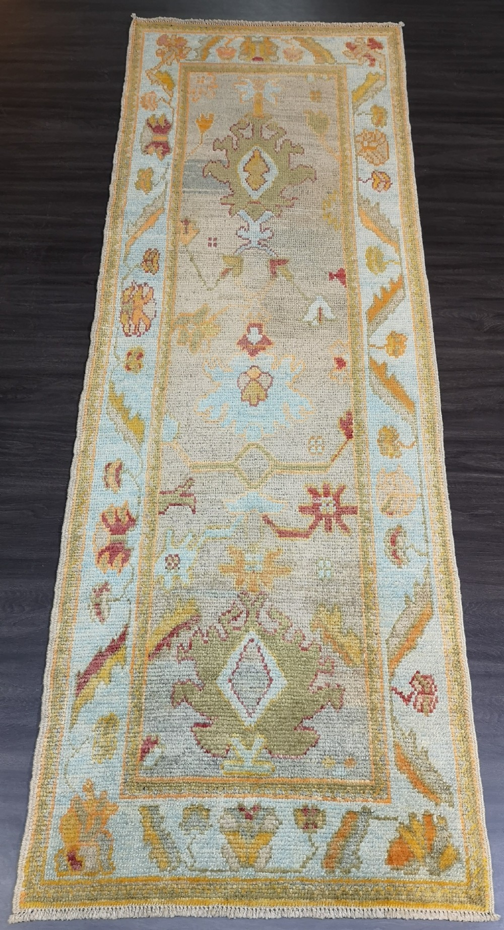 turkish oushak village runner hand knotted with traditional design 254 x 87cm