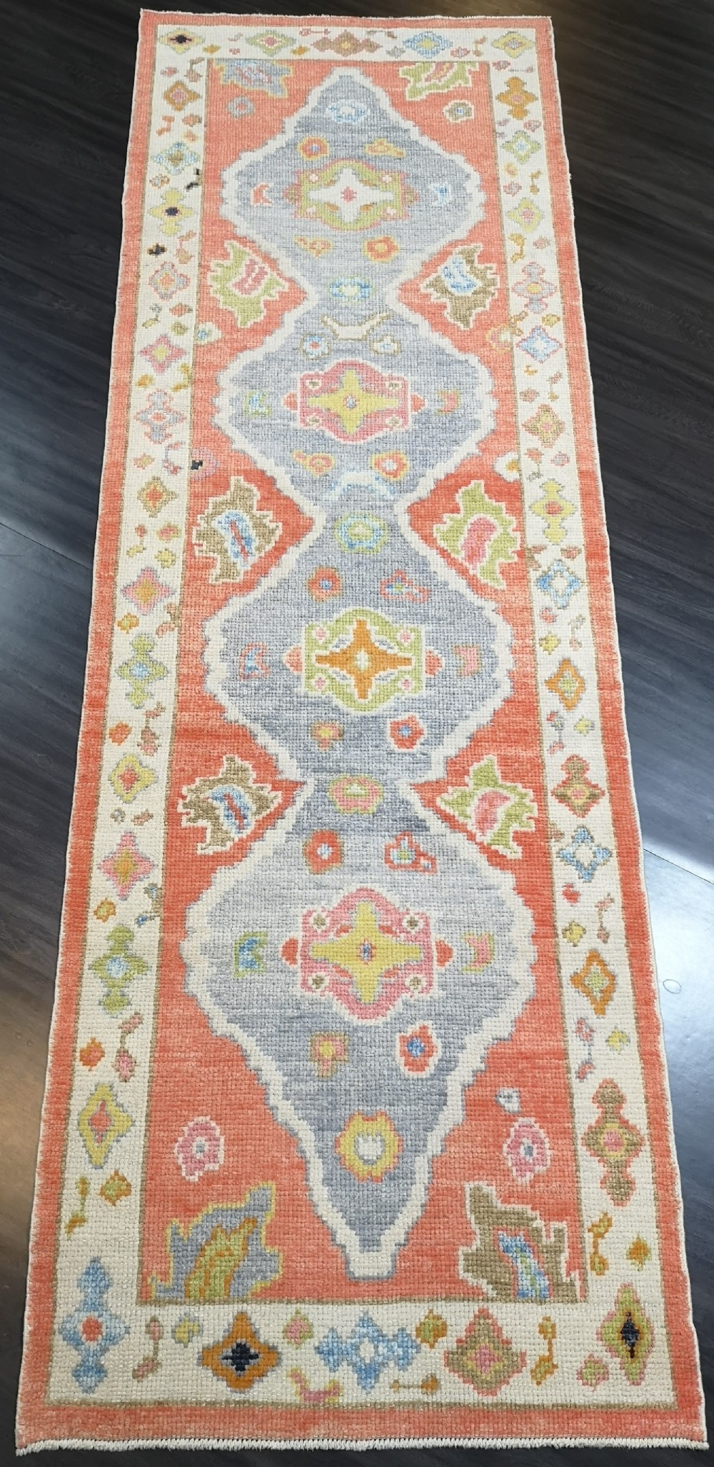 turkish oushak village runner hand knotted with traditional design 290 x 98cm