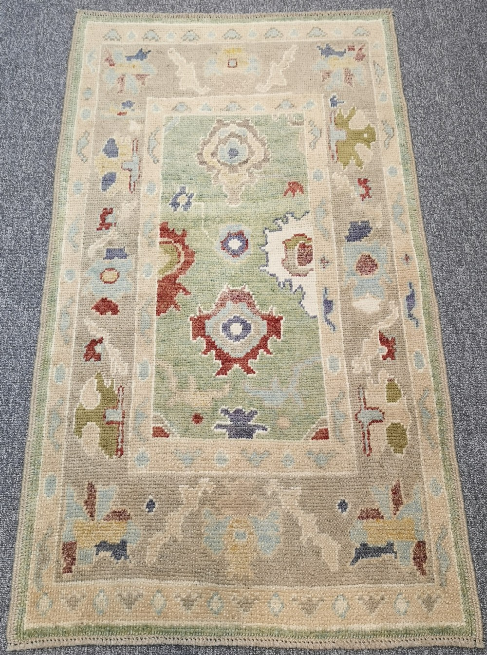 turkish oushak village rug hand knotted with traditional design 164 x 93cm