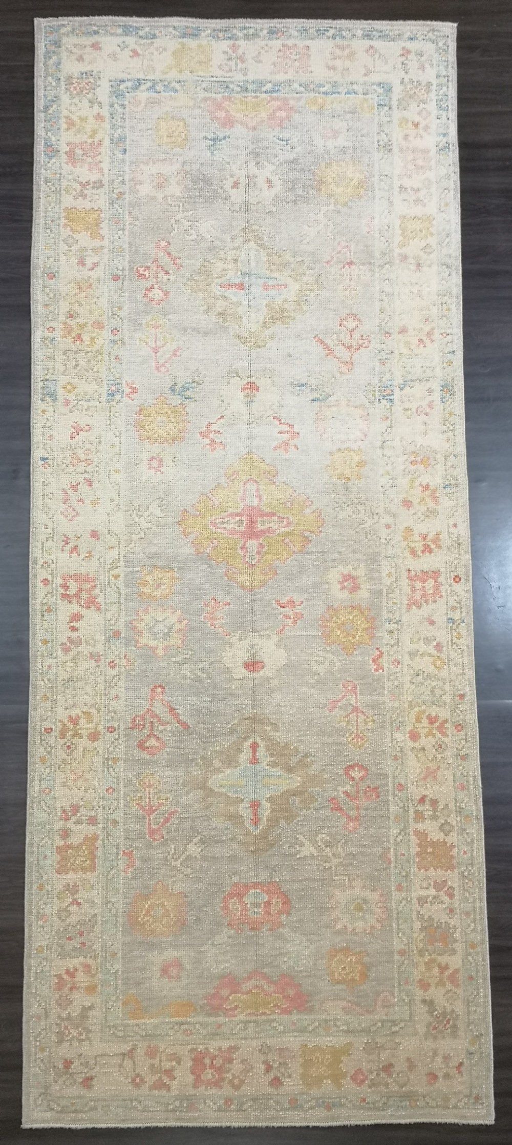 turkish oushak village runner hand knotted with traditional design 322 x 128cm