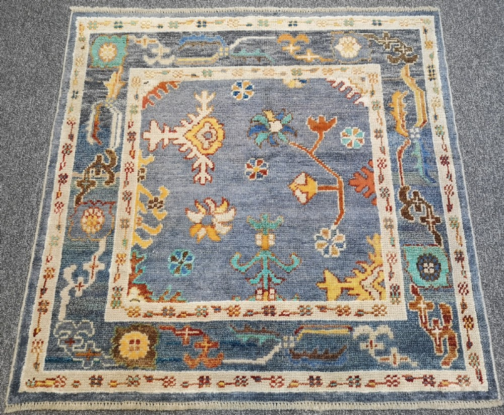 turkish oushak village rug hand knotted with traditional design 125 x 125cm