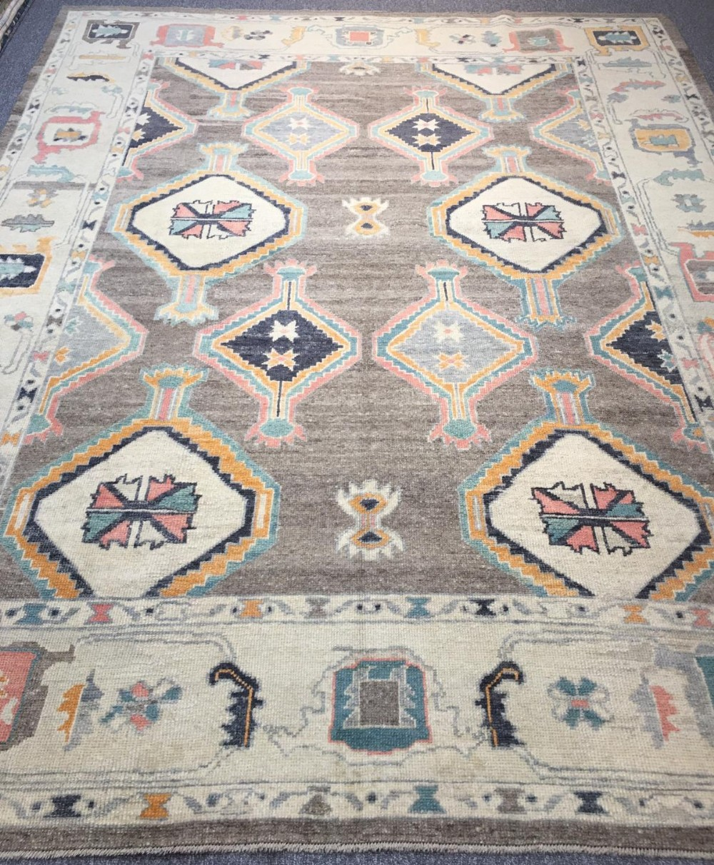 turkish oushak village carpet hand knotted in traditional design 350 x 275cm