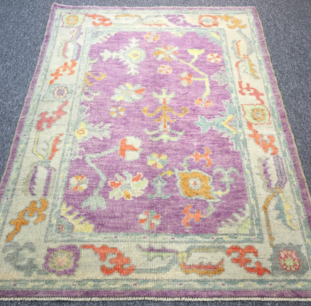 turkish oushak village rug hand knotted with traditional design 180 x 132cm